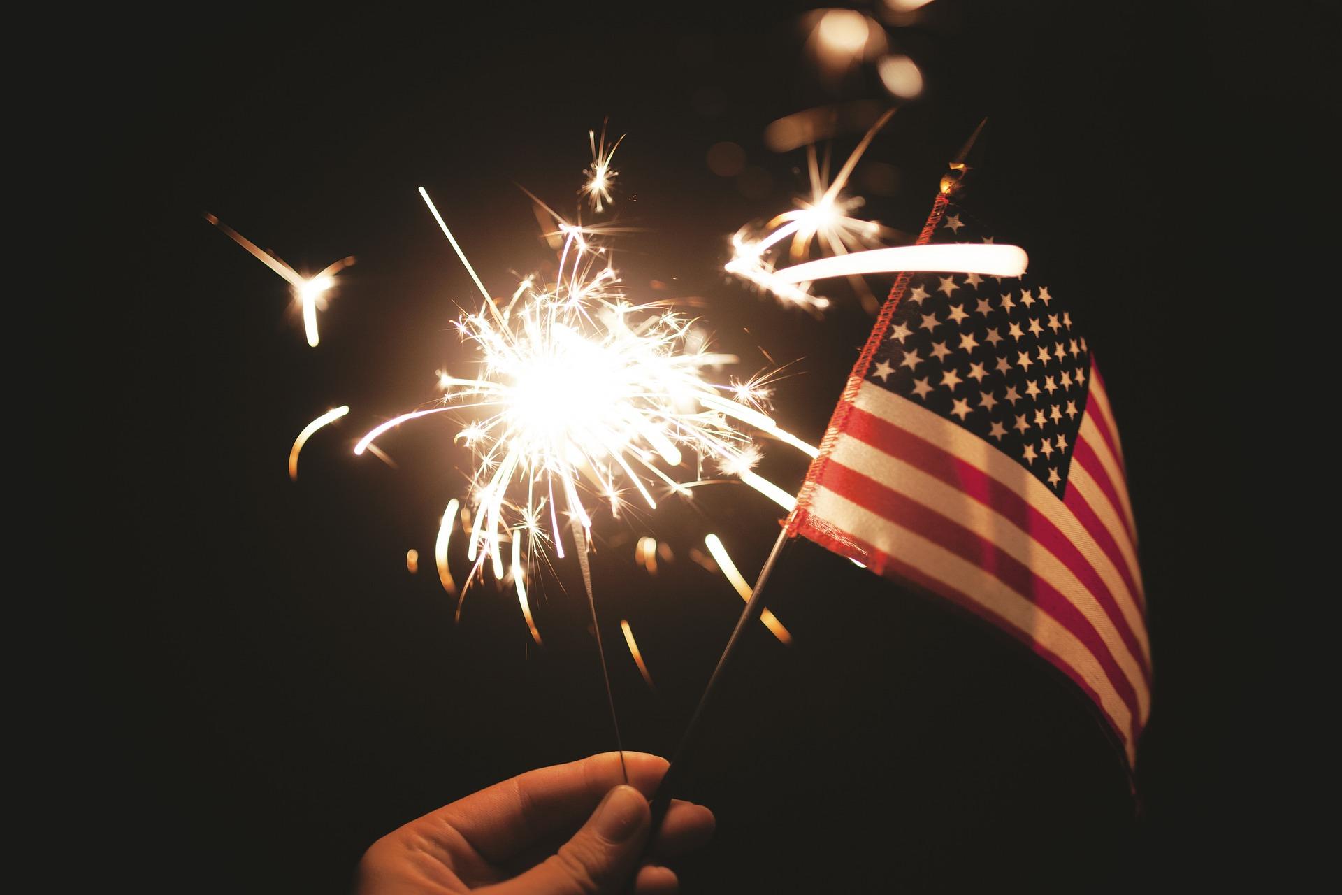 flag, sparkler, July, 4th